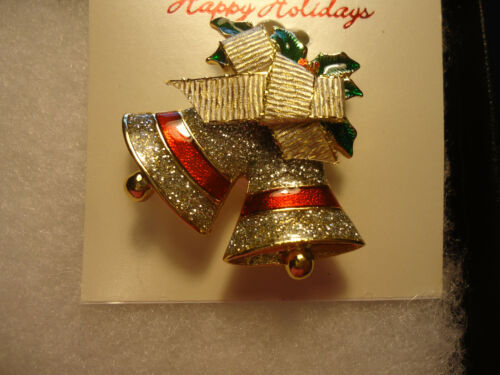 Vintage/nos gold tone enamel xmas Bells bow pin