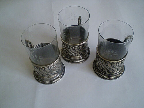 Antiques rare three silver plated cup holders GLASSES
