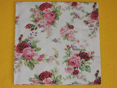 5 stück Servietten ANTOINETTE rose Rosen roses Serviettentechnik napkins rosarot