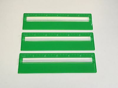 3 Lot Ruler With 2x Raised Magnifier 6 Inch Green 116 Graduation