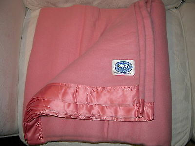 VINTAGE WOOL 'DORMY' SATIN EDGED PINK BLANKET 90