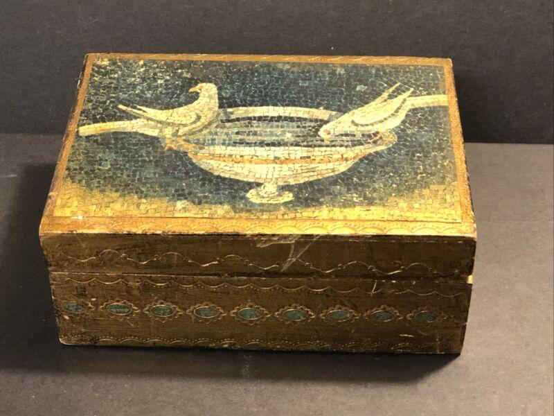 Vintage Florentine Gilt Wood Box With Mosaic Graphic - Italy - Wonderful Patina