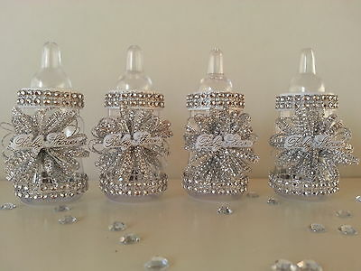Silver Baby Shower Decorations (12 Silver Fillable Bottles for Baby Shower Favors Prizes Games Girl)