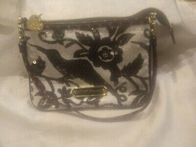 BETSEY JOHNSON SEQUIN BIRD FLORAL BLACK/WHITE/RED PURSE SMALL HEART ZIPPER