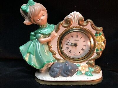 """CAREY Vintage Table Clock Hand Painted Girl Cat Germany 6"""""""