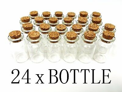 "24 1.5"" Mini Glass Bottles Cork Tops Message Weddings Wish Jewelry Party Favor"