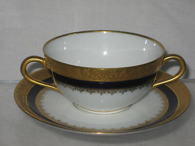 Black Knight Bavaria Raised Gold Encrusted Cobalt Bouillon Cup Saucer Set