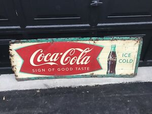 Rare 1950's Fishtail Coca Cola Sign of Good Taste Sign