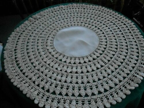 INCREDIBLE ROUND TABLE CLOTH OR TOPPER, BEIGE LINEN / HAND CROCHET LACE,  C.1920