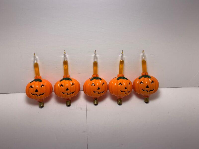 5 Pieces Vintage Pumpkin Bubble Lights Tested/working. Sparkle Bubbling Effect.