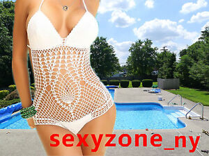 Sexy Women Hand Made Crochet Monokini Cover Up Swimwear Lady Swimsuit Lined In
