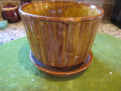 Vintage McCoy Art Pottery Brown Bamboo Planter Flower pot #0374 Mid Century USA