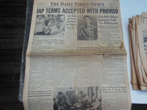 Japanese Surrender, Occupation, Aug. 1945 newspapers, Hirohito, MacArthur