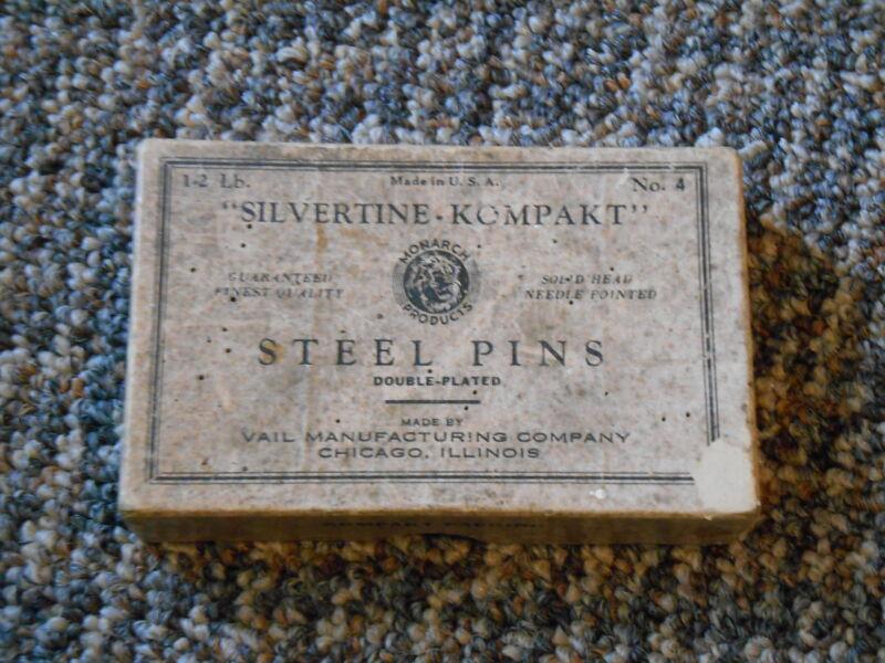 Old Vintage / Antique Advertising Box Silvertine Kompakt Steel Pins Monarch Vail