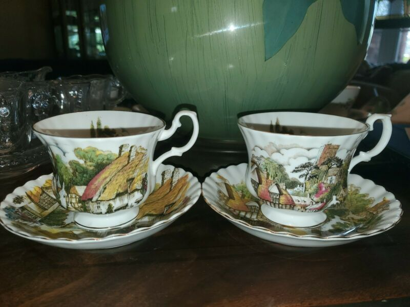 Royal Albert English Village Cup And Saucer Set ~ 2 Different