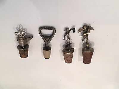 Set Of 4 Vintage Bottle Stoppers, Bottle Opener And Pourer