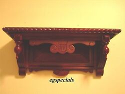 VICTORIAN EASTLAKE WALNUT/MAHOGANY WALL CLOCK SHELF~SOLID WOOD