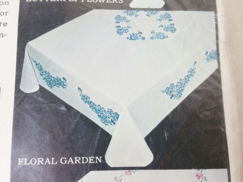 Vintage Floral Stamped to Embroider BELGIAN LINEN Tablecloth SEALED In Package