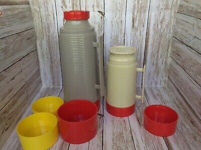 (2) Vintage Red Beige Ted Williams Quart Sears Roebuck & AladdinThermos Vacuum