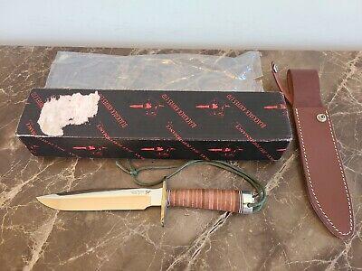 ~ Blackjack CLASSIC 1-7 CARBON STEEL Chrome Knife 0017 Leather + Sheath ~