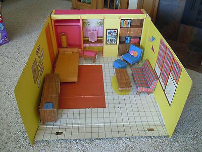 Vintage Folding Cardboard Barbie Dream House + Furniture & Accessories