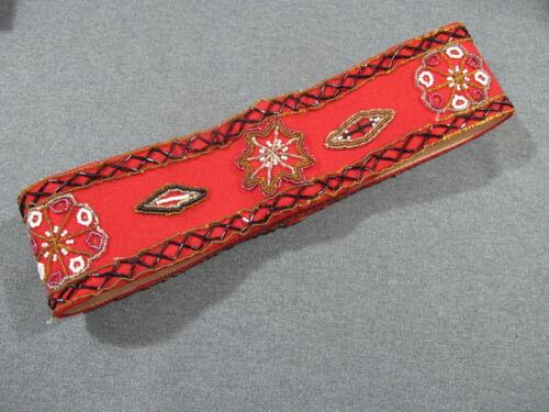 Vintage Hardanger Norway bunad ethnic folk costume hand  beaded red felt belt