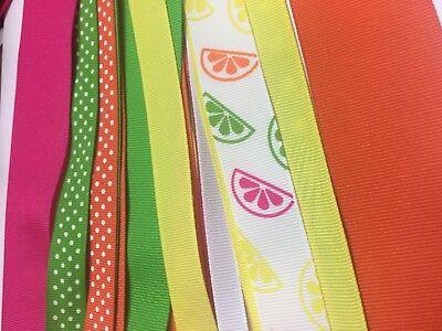 Grosgrain ribbon citrus mix 27 yards.Sizes 1-1/2 inch,7/8,5/8,3/8 FREE SHIPPING