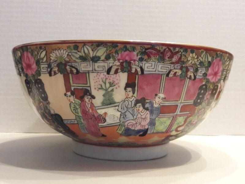 "Vintage Chinese Rose Medallion Bowl 10"""