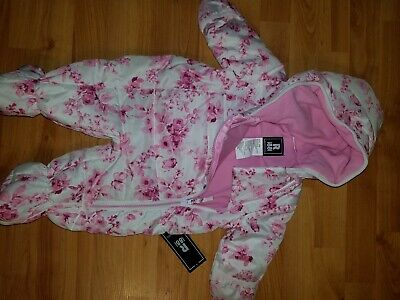 NEW Rothschild Infant Girls Rose Floral Print Pram Snowsuit Bunting Size 3/6M ](Infant Bunting)