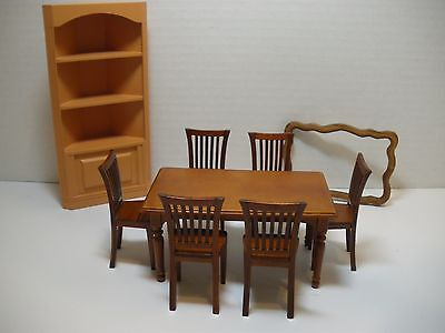 "1:12 Dollhouse ""Arts & Crafts Style"" Dining Table w/6 Chairs & Corner Cabinet"