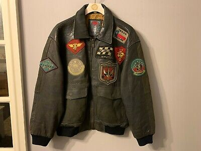 VINTAGE REDISCOVE RED ORIGINALS DISTRESSED LEATHER MOTORCYCLE JACKET SIZE 50