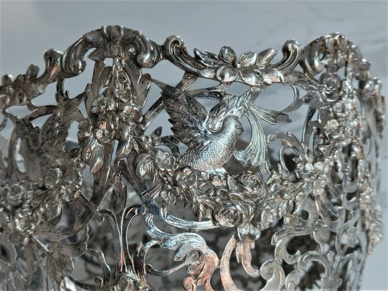BEAUTIFUL LARGE ANTIQUE GERMAN SOLID SILVER CENTERPIECE BOWL