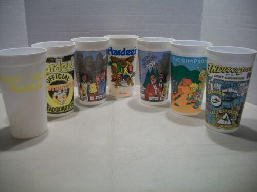 Vintage Plastic Collector Cup Lot of 7 Hardees Moose Indiana Jones Simpsons Bob