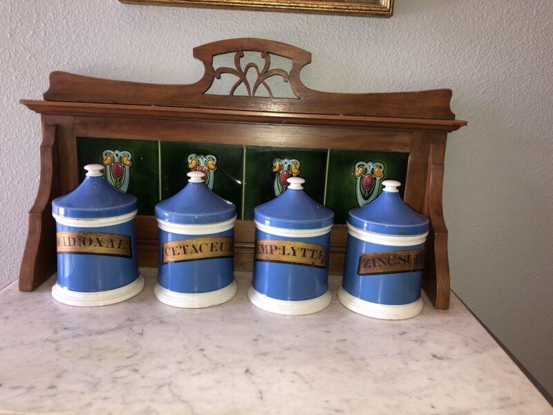 4 Antique 1800's Apothecary Jars