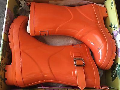 Joules Women's Rain Boots Orange - US Size 6 - **NEW IN BOX**