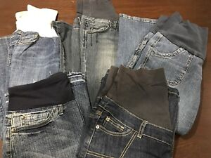 5 pairs of maternity jeans/jean skirts (size S)