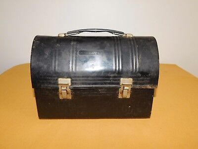Metal Lunch Pail (VINTAGE 1950S ALADDIN INDUSTRIES INC BLACK METAL LUNCHBOX LUNCH)