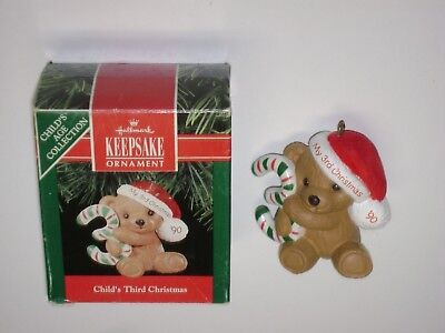1990 Hallmark Ornament CHILD'S THIRD CHRISTMAS Teddy Bear Years