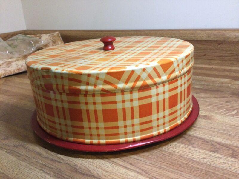 Red Orange Gingham 2 Piece Tin Covered Cake Carrier Vintage