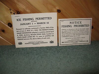 2 VINTAGE PA. GAME COMMISSION FISHING SIGNS NOS