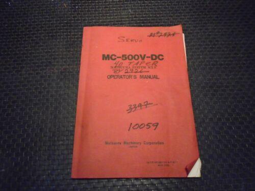 Matsuura MC-500V - DC MXll Control Operators Manual