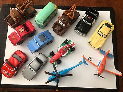 Disney Pixar Cars Die Cast  and Wood -Variety Vehicles Lot Of 12