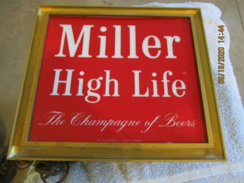 Vintage 1970 Miller High Life Lighted Sign The Champagne Of Beers