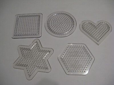 5 Small Pegboards. CLEAR For Perler Fuse Beads. Iron. Melt.Template Design. Hama ()