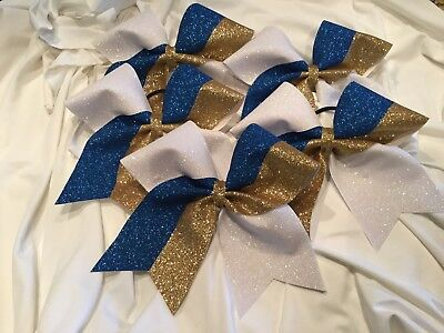 Gold Royal Blue and White Cheer Bow ()