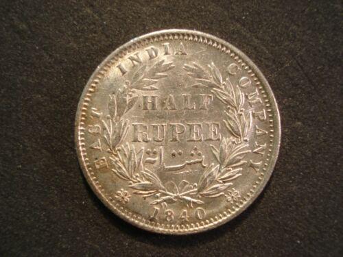 1840 India British  1/2 Rupee