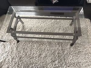 Glass coffee table and two glass end tables
