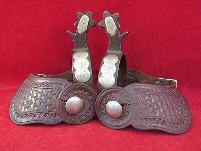 PAIR OF SINGLE MOUNTED  CROCKETT SPURS #5 MARK, 1940'S, WITH STRAPS