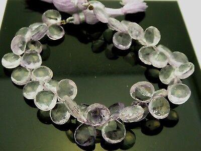 Pale Pink Amethyst Heart Shape Briolette Gemstone Bead 10mm x 10mm Strand 8