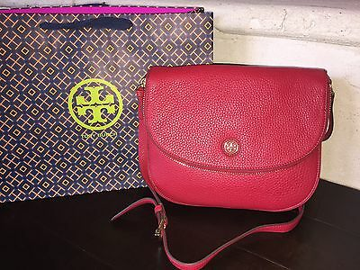 TORY BURCH ROBINSON PEBBLED MESSENGER KIR ROYALE NWT $450 & GIFT BAG -32159734